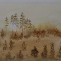 Usvamaisema akvarelli